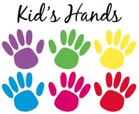Kids handprints in six colors Stock Photos
