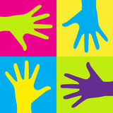 Kids hands. Vector illustration of group of colorful child hands on color background Stock Illustration
