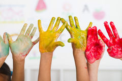 Kids Hands Paint Royalty Free Stock Image