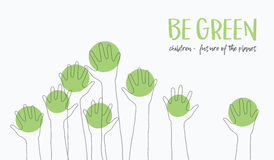 Kids Hands Up Silhouette. hildren-future of the planet.Ecology concept.message-BE GREEN.babies hands raised up like Stock Image