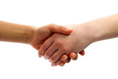 Kids handshake. Isolated on white background royalty free stock photo