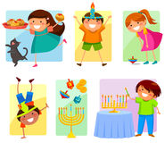 Kids on Hanukkah vector illustration