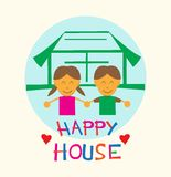 Kids in Happy House Flat Style Cartoon Royalty Free Stock Photo