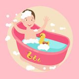 Kids happy play water in bath with rubber duck soap all around Royalty Free Stock Photos