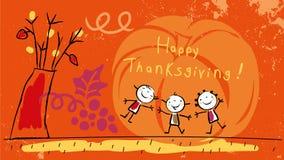 Kids happy thanksgiving stock illustration