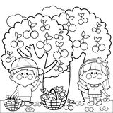 Kids harvesting cherries coloring book page Royalty Free Stock Images