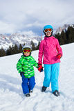 Kids has a fun on ski Stock Photography