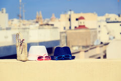 Kids hats on vacation in urban Europe. Family vacation concept Stock Image