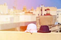 Kids hats on vacation in urban Europe. Family vacation concept Royalty Free Stock Image