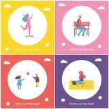 Kids Have Fun and Rest in Park Cartoon Banner. Kids have fun, resting and relaxing in park isolated vector cartoon banner set. Girl riding on skateboard, boy royalty free illustration