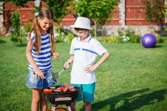 Kids having a barbecue party Stock Photography