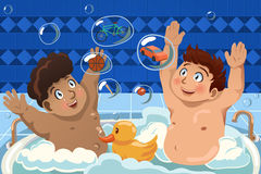 Kids Having a Bubble Bath. A vector illustration of kids having a bubble bath in the bathtub Stock Photo