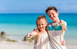 Kids having fun at beach. Kids having fun at tropical beach holding crabs during summer vacation playing together Stock Image