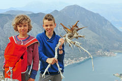 Kids having fun in mountains Royalty Free Stock Photography