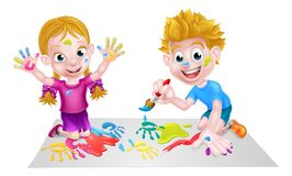 Kids Having Fun with Paints. Cartoon boy and girl playing paints getting very messy Stock Photography
