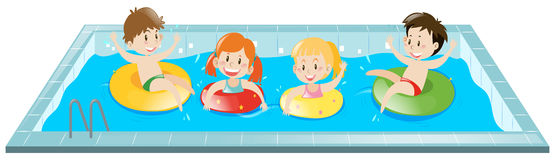 Kids having fun in the pool. Illustration Stock Photos