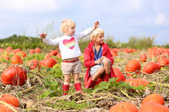 Kids having fun on pumpkin field Royalty Free Stock Photos