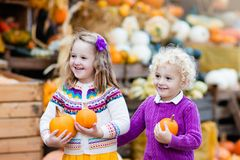 Kids having fun at pumpkin patch Stock Images
