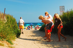 Kids Having Fun in Summer. Late Afternoon, Ditch Pines Beach, Montauk Royalty Free Stock Photo