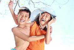 Kids having fun in sunny day Stock Images