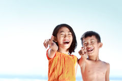 Kids having fun in sunny day Royalty Free Stock Photo