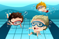 Kids having fun in the swimming pool. A vector illustration of happy kids having fun in the swimming pool Stock Photography