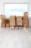 Kids having fun in their new home royalty free stock photos