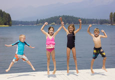 Kids having fun on their summer vacation Royalty Free Stock Image