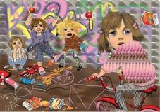 Kids having fun, throwing bottles  and painting graffitti. Violent kids having fun, throwing bottles  and painting graffitti, a girl on a bmx bike looking back Stock Images