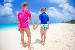 Kids having fun at tropical beach on caribbean vacation Stock Photography