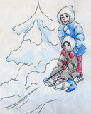 Kids having fun in winter. Sketch of two girls with sleigh and snowy Christmas tree nearby drawn by hand with ink and colored with crayons Stock Image