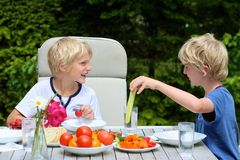 Kids having healthy picnic outdoors. Two happy schoolboys, twin brother, laughing and having healthy lunch or dinner outside sitting at picnic table in the Royalty Free Stock Image