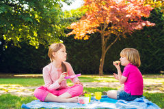 Kids having a picnic outdoors Stock Photo