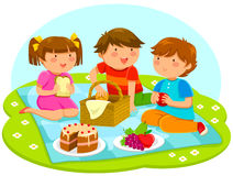 Kids having picnic. Three cute kids having a picnic together royalty free illustration