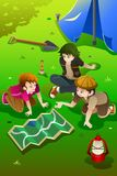 Kids having summer camp royalty free illustration