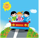 Kids having a travel by car Royalty Free Stock Images
