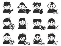 Kids head with education icons set Royalty Free Stock Photos
