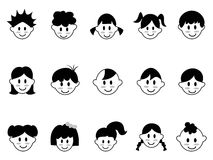 Kids head icons Royalty Free Stock Photography