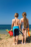 Kids heading to the beach Royalty Free Stock Image