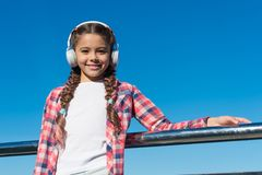 Kids headphones tested and ranked best to worst. Enjoy sound. Make your kid happy with best rated kids headphones. Available right now. Girl child listen music royalty free stock image