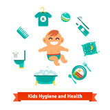 Kids health and hygiene icons. Baby boy Stock Image