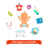 Kids health and hygiene icons. Baby boy. In diaper, bubble bath, toilet, breakfast, pillow, toothbrush and toothpaste. Flat style vector icons set vector illustration
