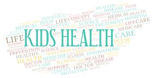 Kids Health word cloud. Wordcloud made with text only vector illustration