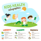 Kids Healthy Lifestyle Yoga Inforgrahic Poster Stock Photo
