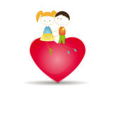 Kids and heart Stock Image