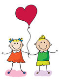 Kids with heart. A little girl and boy holding heart ballon Royalty Free Stock Image
