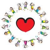 Kids and heart. Multinational kids  in a circle with big red heart isolated on white Stock Photos