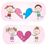 Kids with heart puzzle Royalty Free Stock Images