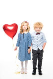 Kids with heart shaped balloon Stock Photography