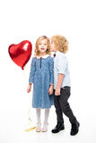 Kids with heart shaped balloon Stock Photo